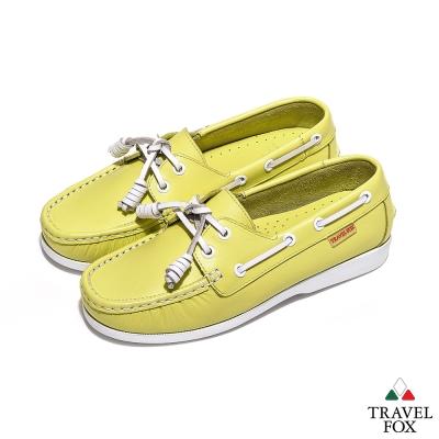 Travel Fox(女) - BABY色調 真皮跳色鞋帶旅狐帆船鞋 - 薄荷綠