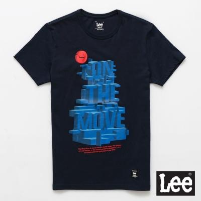 Lee 短袖T恤 藍色3D立體文字印刷 -男款(深藍色)