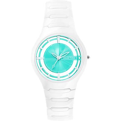 RELAX TIME RT57 優雅鏤空陶瓷腕錶-蒂芬妮綠x白/37mm