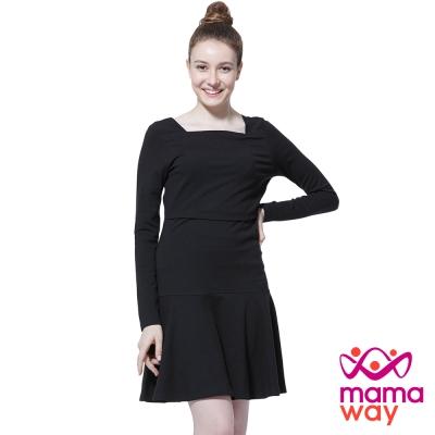 孕婦裝 哺乳衣 方形領俏麗圓裙孕哺洋裝 Mamaway