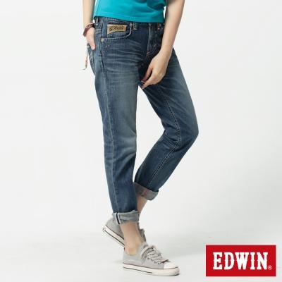 EDWIN AB褲BT皮繩串珠牛仔褲-女-重漂藍