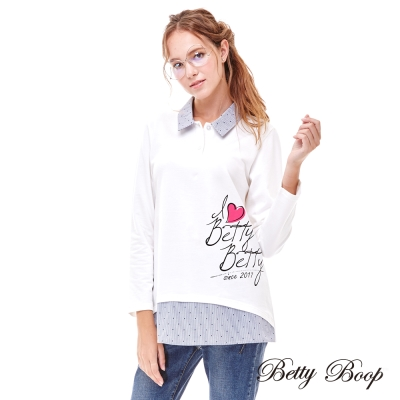 Betty Boop貝蒂 愛心字母拼接點點細條假兩件上衣(白色)
