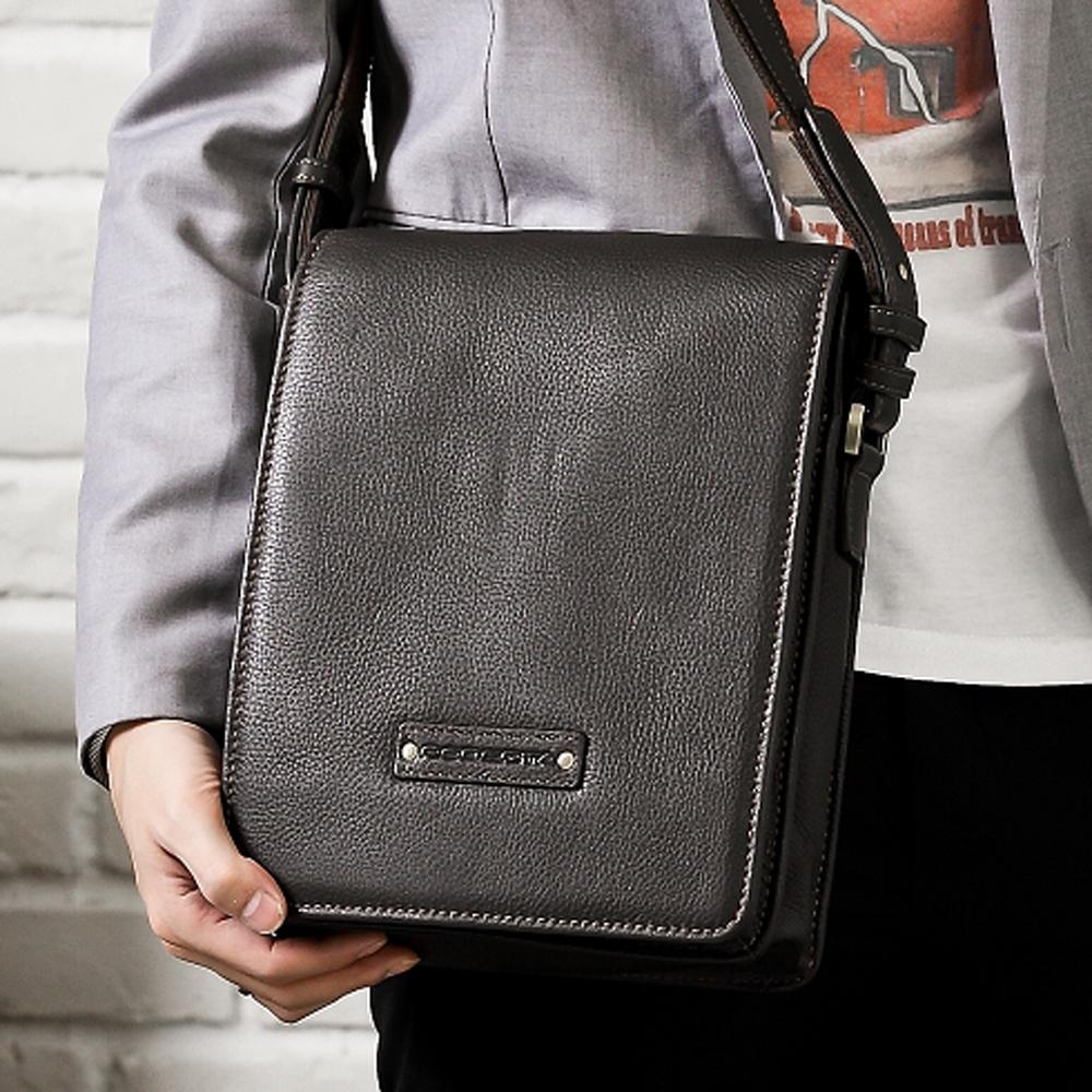Roberta Colum - 時尚質感鉚釘軟牛皮實用長方形斜背包(小)-共2色