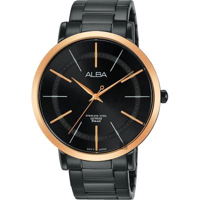 ALBA雅柏 聖誕限定時尚手錶(AH8447X1)-鍍黑x玫塊金框/44mm