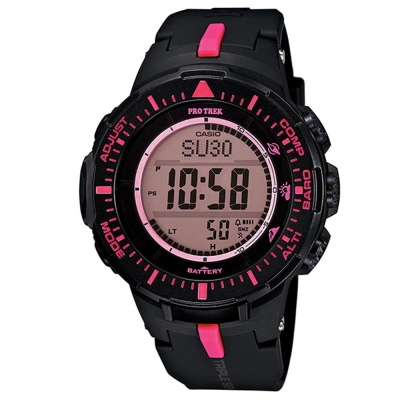 PRO TREK 原野時尚風格戶外活動高亮度照明登山錶-桃紅時刻/47mm