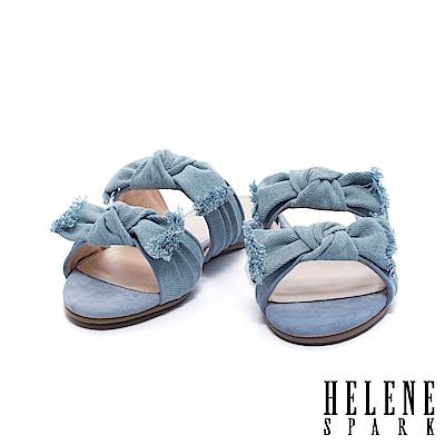 拖鞋 HELENE SPARK 隨性時尚不修邊蝴蝶結雙帶平底拖鞋-藍