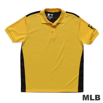 MLB-匹茲堡海盜隊修身撞色快排POLO衫-黃男