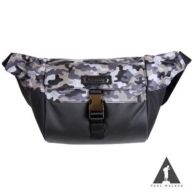 Paul Walker 新時尚系列拉鍊掀蓋插釦斜背單肩包 迷彩黑