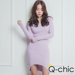 弧下襬前短後長針織洋裝 (共四色)-Q-chic