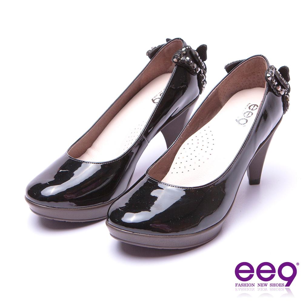 【ee9】典雅簡約素面閃耀鑲嵌亮鑽蝴蝶結高跟鞋*黑漆亮