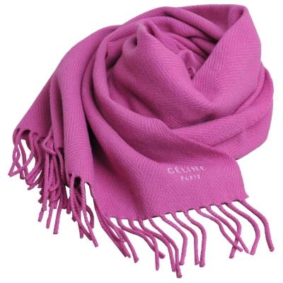 CELINE 品牌字母圖騰LOGO日本製流蘇披肩圍巾(桃紅)