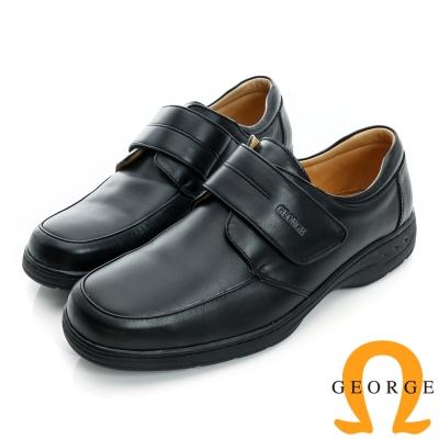 GEORGE-厚底素面魔鬼沾真皮方頭鞋-黑色