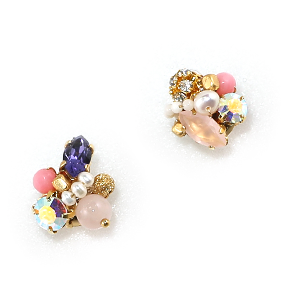 Luce Costante Petit系列繽紛水晶珍珠耳環(針式/夾式) @ Y!購物