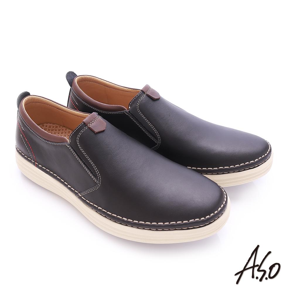 A.S.O 奈米健康氣墊 臘感牛皮縫線設計健走休閒鞋 黑色