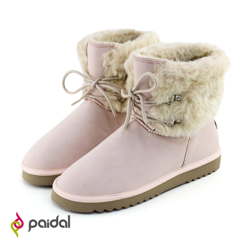 Paidal雪兔毛絨假綁帶短筒雪靴-俏麗粉