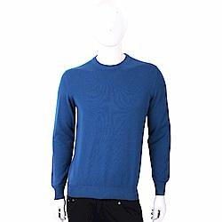 Andre Maurice 100%喀什米爾飽和藍圓領針織羊毛衫(男裝)