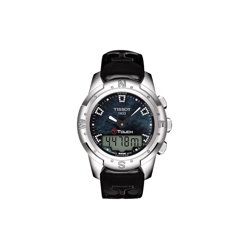 TISSOT T-TOUCH II 鈦真鑽多功能觸控錶-黑貝/42.7mm