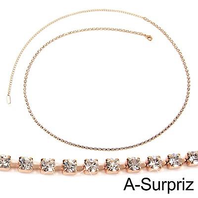 A-Surpriz 顯瘦滿鑽細版金屬腰鍊(玫瑰金)