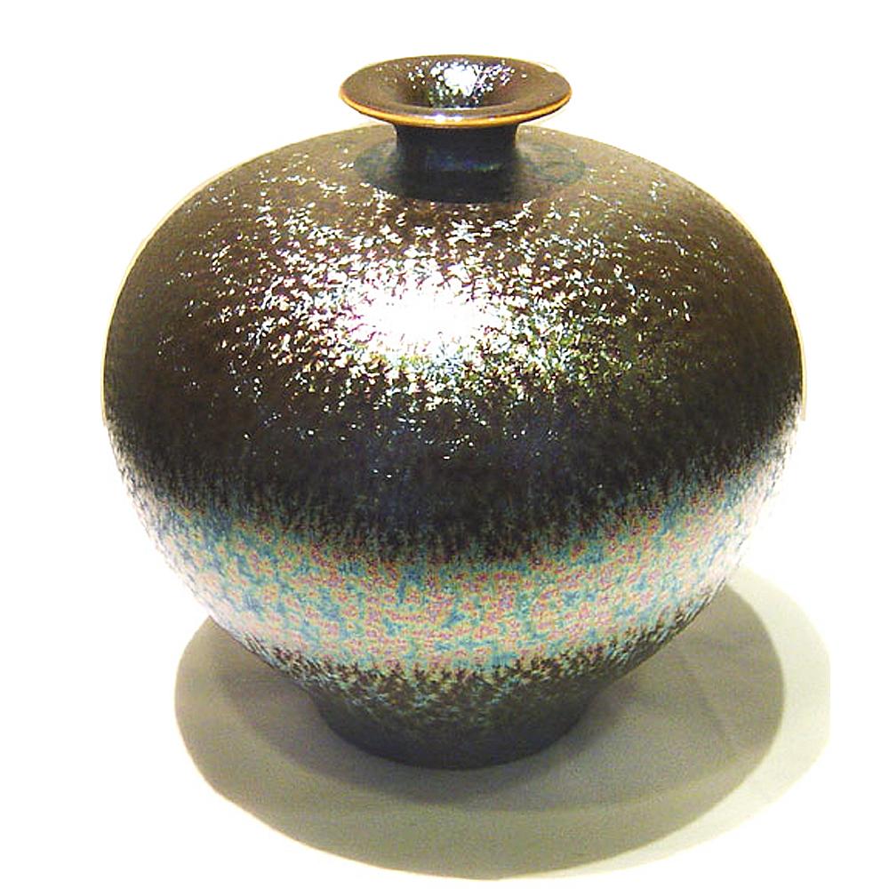 (小圓球瓶)繽紛人生聚寶盆禮品~郭明本錳七彩結晶釉鎏金瓶