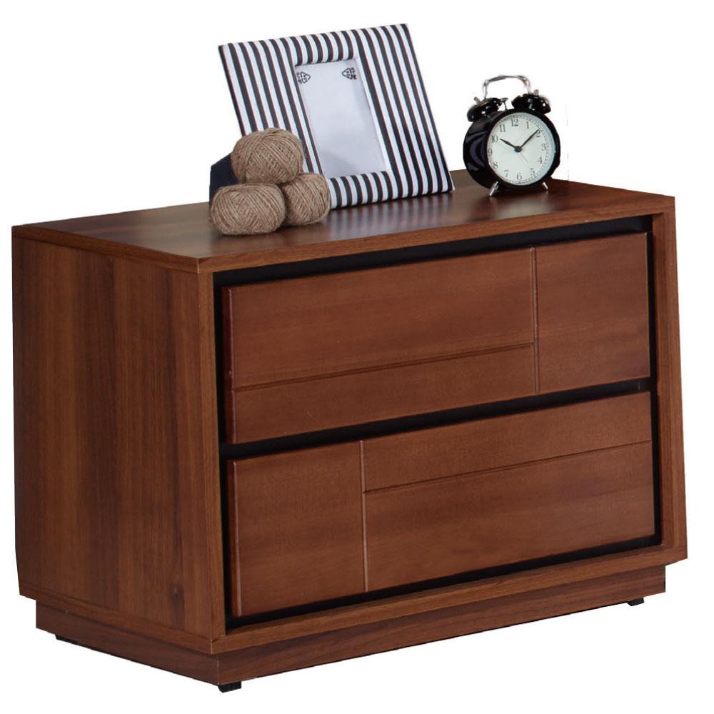 品家居 潘普2尺胡桃木紋實木二抽床頭櫃-60x40x49cm-免組