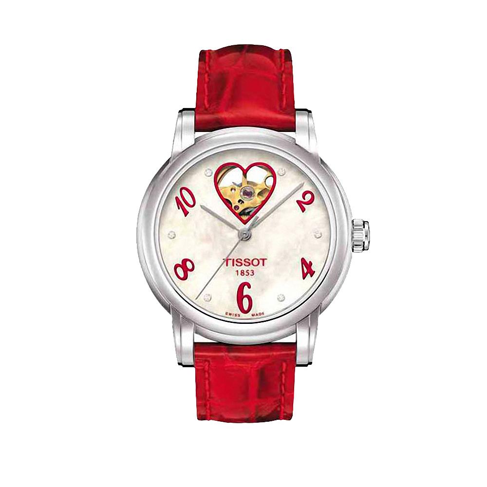 TISSOT Lady Heart 開芯鏤空真鑽機械女錶-珍珠貝x紅/35mm