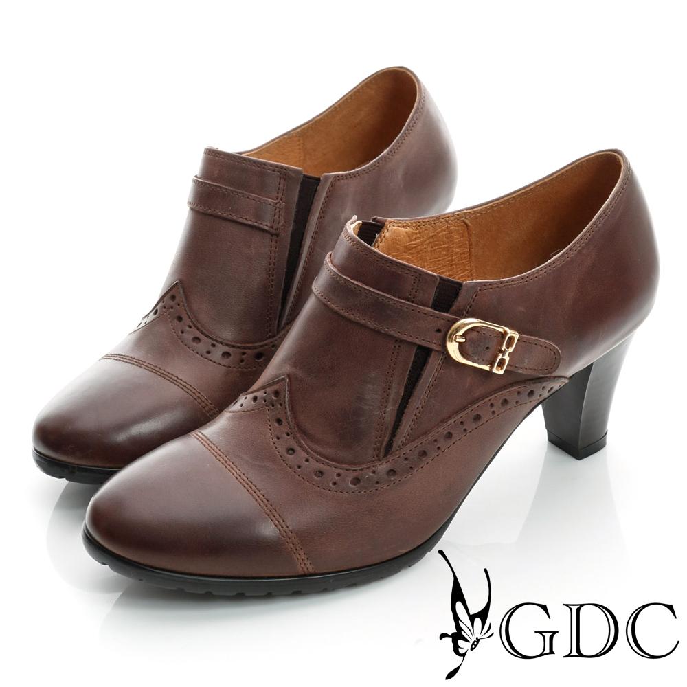 GDC復古-牛津皮帶扣真皮中跟踝靴-可可色