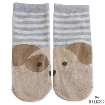 BEBEZOO 韓國 灰條紋狗狗嬰兒短襪