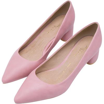 AIR SPACE 擦色蠟感尖頭氣質包鞋(粉紅)