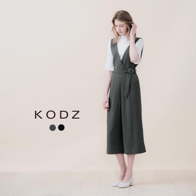 東京著衣-KODZ 微性感附腰帶深V連身褲-S.M(共二色)