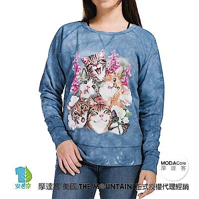 摩達客 美國The Mountain 藍貓咪哦耶 女版休閒長袖T恤