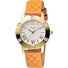 VOGUE 時尚菱格紋羅馬腕錶-白x橘/34mm