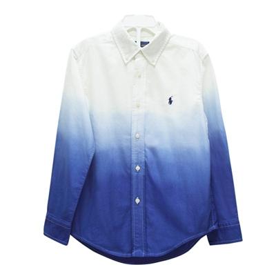 Ralph Lauren 男童小馬漸層長袖襯衫-藍/白(6歲)