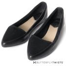 BUTTERFLY TWISTS-尖楦異材質拼接記憶軟墊平底鞋-黑