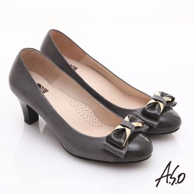 A.S.O 舒適通勤 全真皮異材質拼接典雅高跟鞋  灰