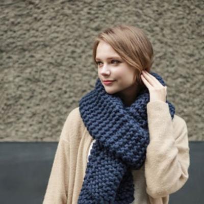 梨花HaNA-歐美純色感受粗織超長圍巾深藍