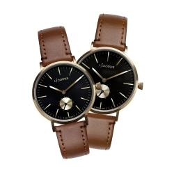 LICORNE 力抗錶 白晝系列 北歐典藏情侶對錶-黑x金