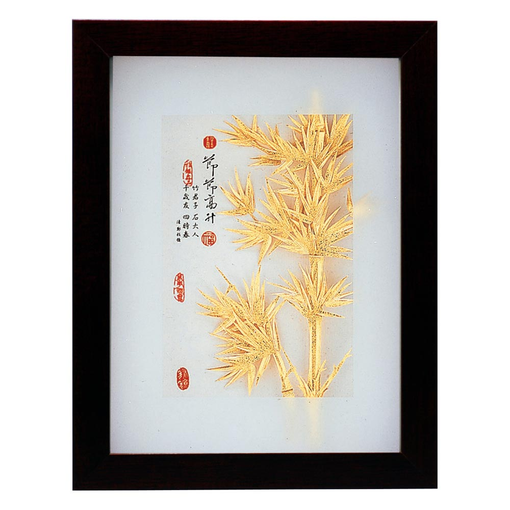 鹿港窯-立體金箔畫-節節高升(古香系列22.7x17.6cm)