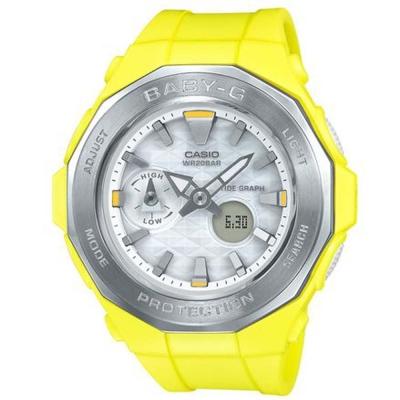BABY-G海灘豪華露營概念風格休閒運動錶( BGA-225-9A)黃X銀框45.5mm