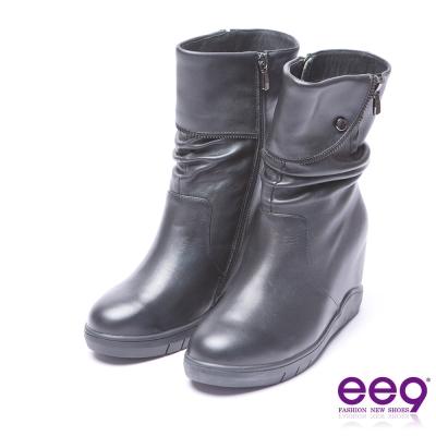 ee9 率性風采素面百搭內增高厚底中筒靴 黑色