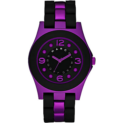 Marc Jacobs 風情色彩品牌腕錶-黑/紫/40mm
