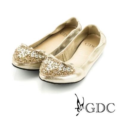 GDC-蝴蝶結心形雙色水鑽裝飾真皮平底娃娃鞋-金色