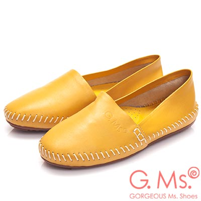 G.Ms.  超柔軟綿羊皮圓頭豆豆懶人休閒鞋-黃色