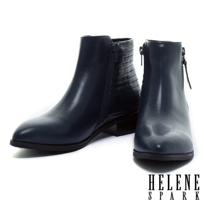 踝靴-HELENE-SPARK-雙側拉鍊造型帥氣尖頭粗跟踝靴-藍