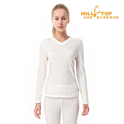 【hilltop山頂鳥】女款Thermolite吸濕V領衛生衣H56F78白