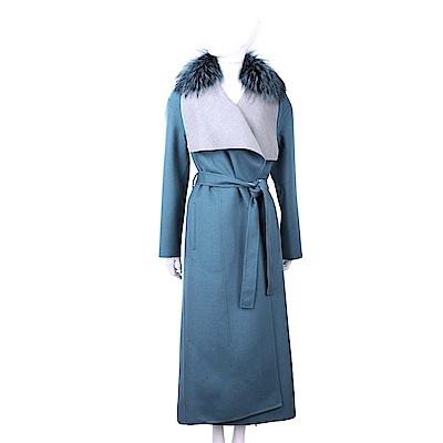 Manzoni 24 喀什米爾皮草領藏藍色綁帶手工羊絨大衣