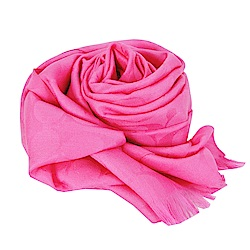COACH 經典滿版LOGO羊毛混絲針織披肩圍巾(亮桃紅)