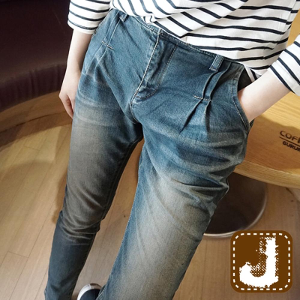 正韓 褪色刷白抓痕單寧長褲-(水洗藍)100%Korea Jeans