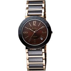 Diadem 黛亞登 都會女仕時尚陶瓷腕錶-咖啡x雙色版/33mm