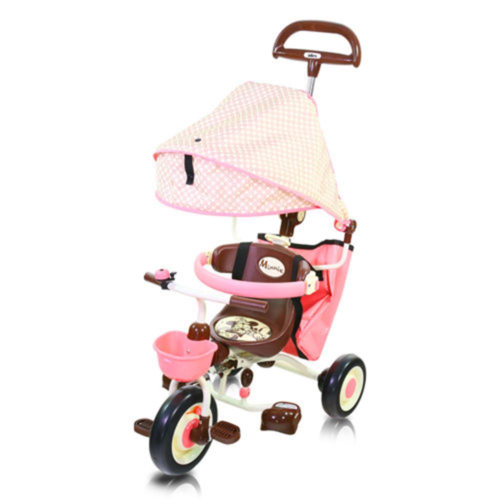 米妮摺疊敞篷三輪車粉IDES三輪車兒童騎乘