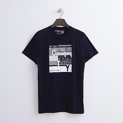 Hang Ten - 男裝 - 有機棉 都會城市T恤-深藍色